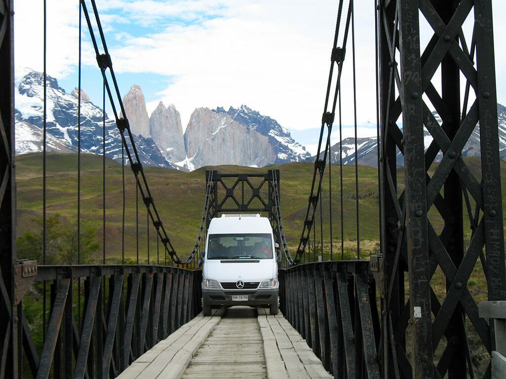Single lane bridge to Ecocamp Chile