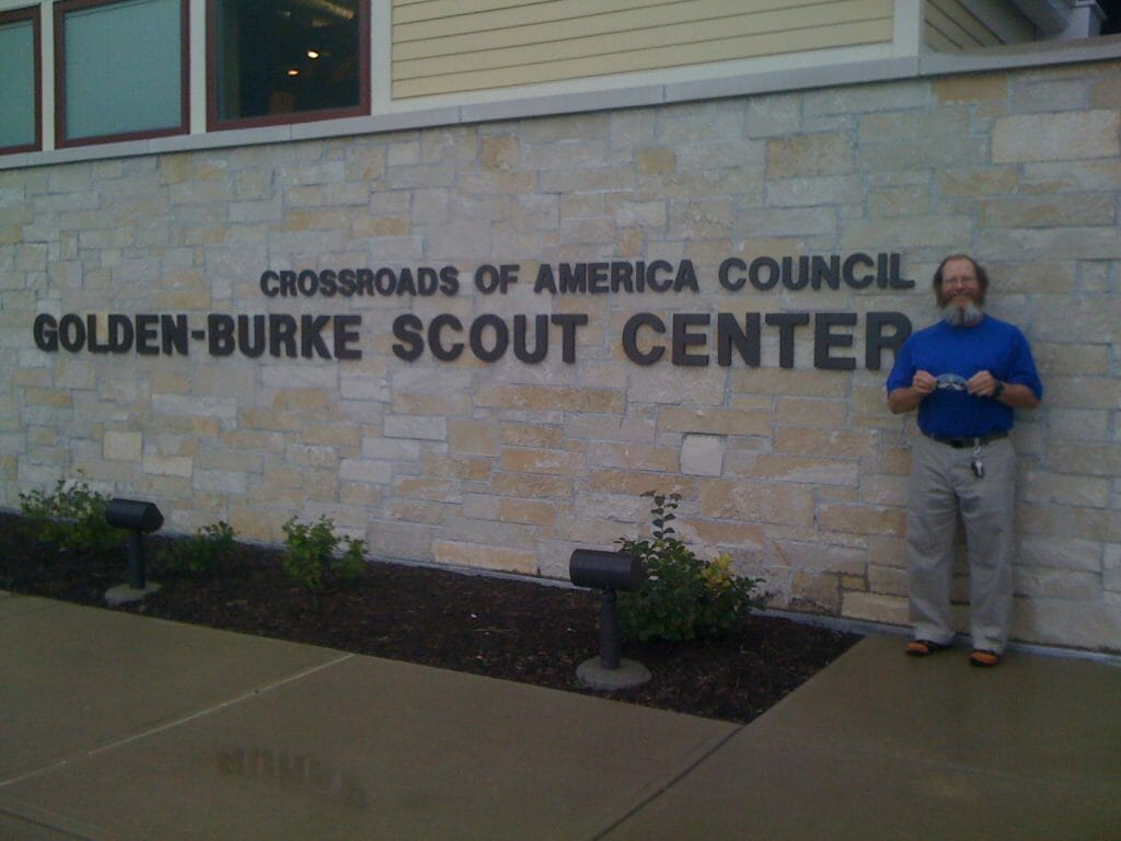 At the Boy Scout council office in Indianapolis