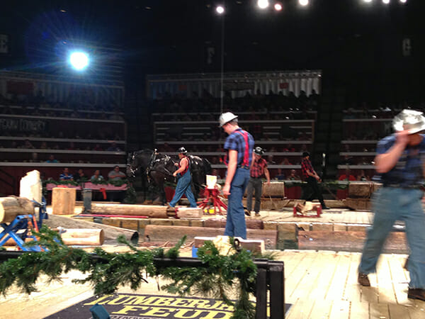 A team of Percherons hauled the heavy logs onstage