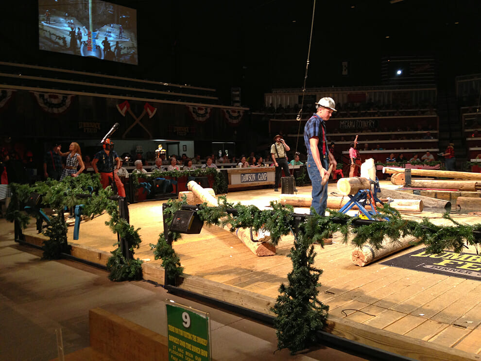 Lumberjacks face off in one of the many competitions