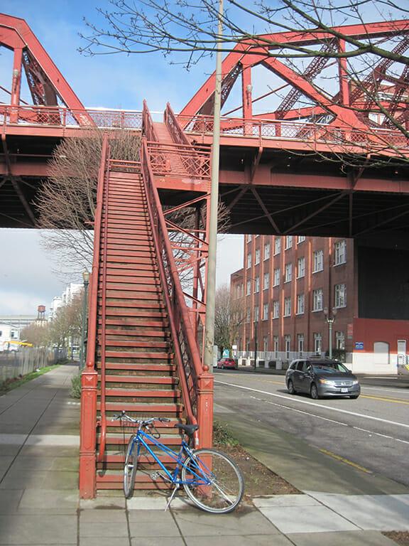 Bike meet staircase in Portland