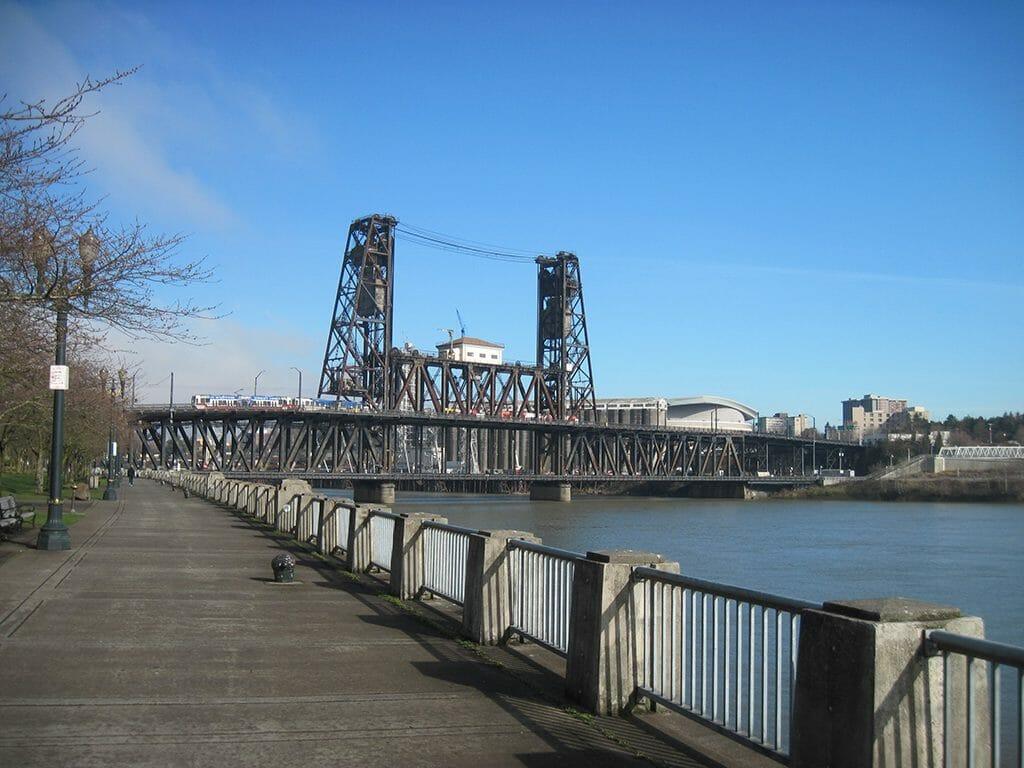 Bike path along the Willamette River