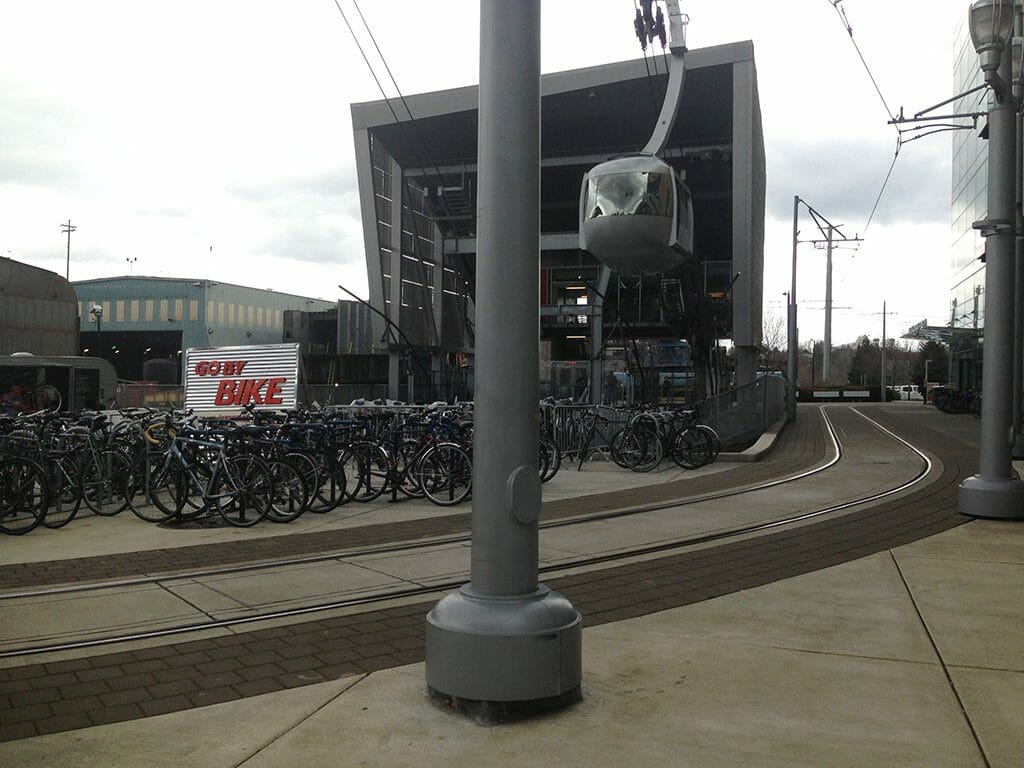 Trolley station and aerial tram