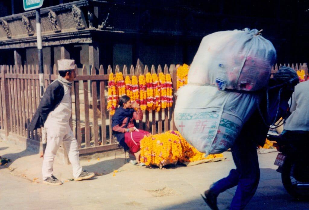 Bhaktapur garland vendor