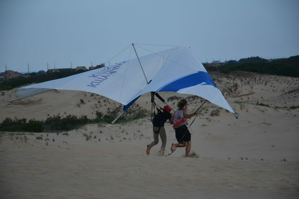 Hang glider ready to launch off Jockey's Ridge