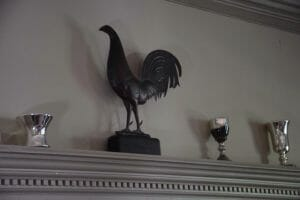 Weathervane rooster on the mantel