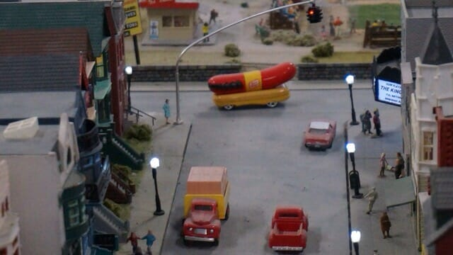 Wienermobile heading down the street