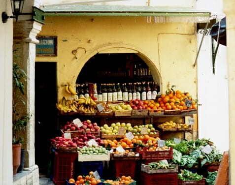 Market stall in Corfu Town