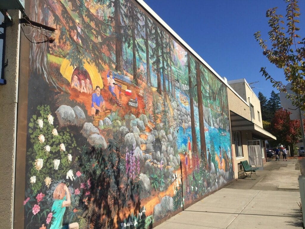 Outdoor adventure mural in Estacada