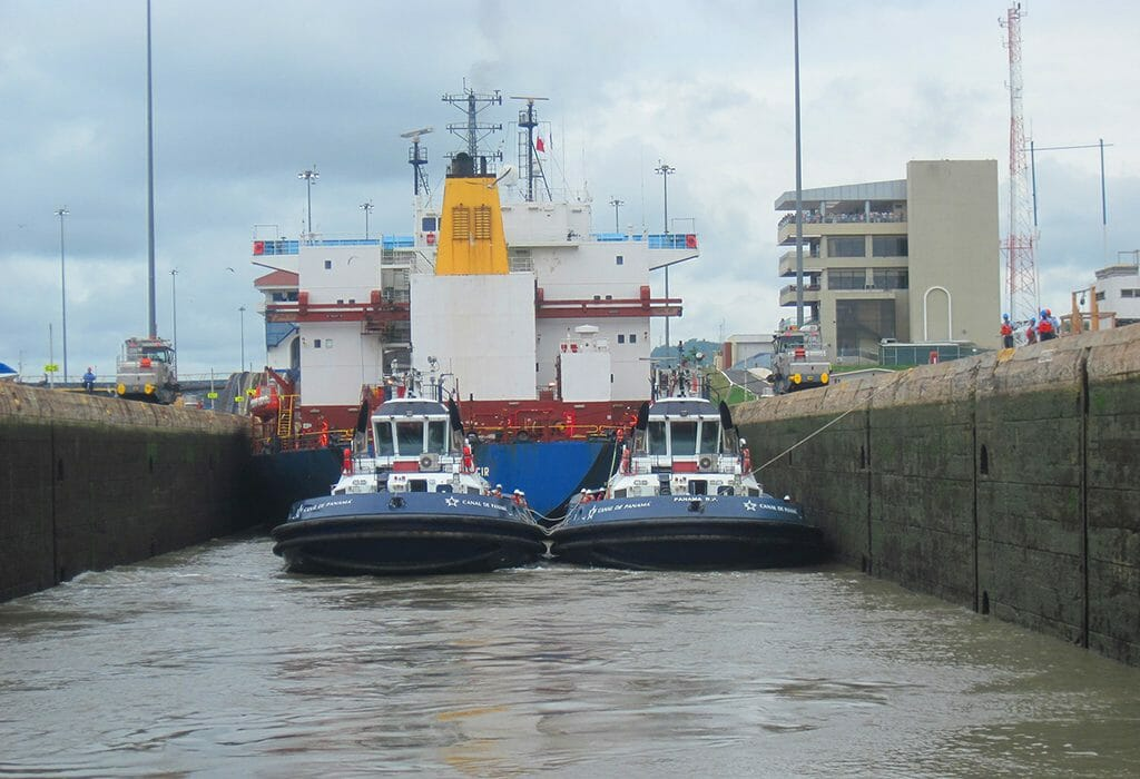 In a Panama Canal lock