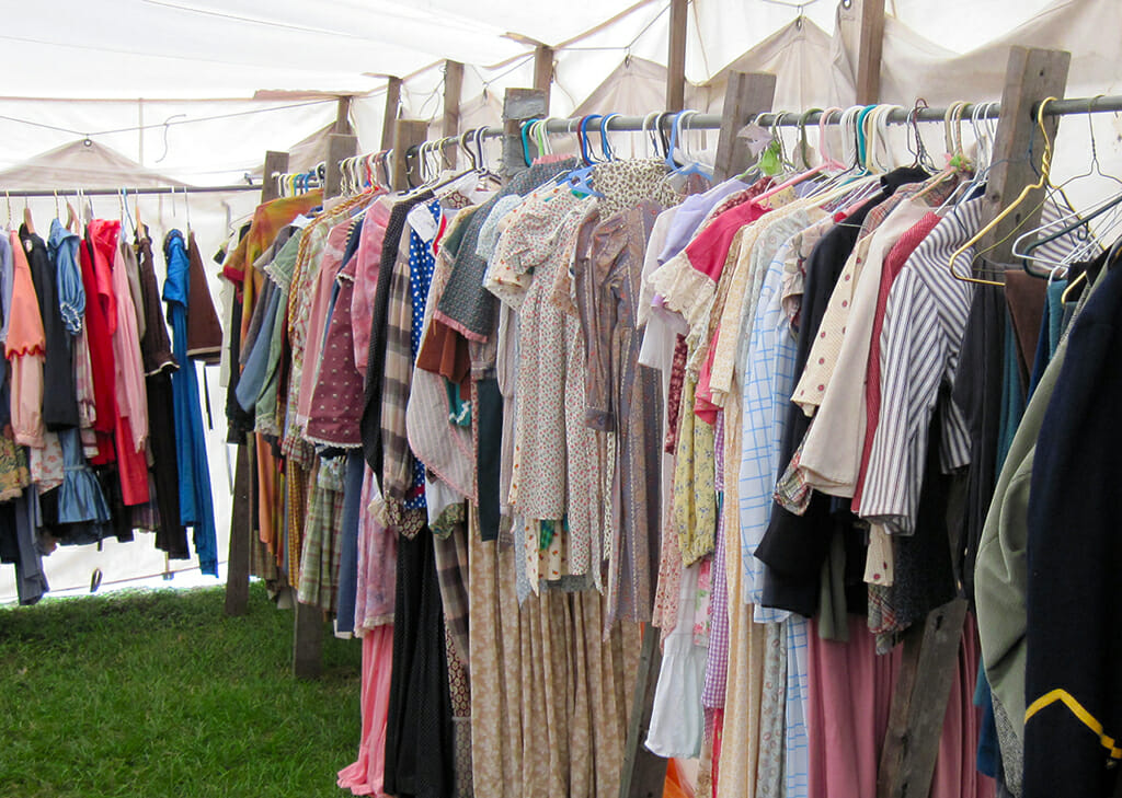 Vintage clothing at the sutler's tent