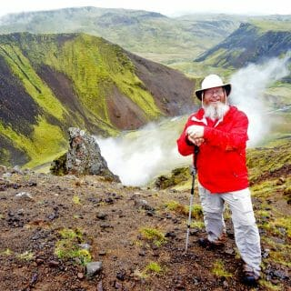 Hiking across an Icelandic volcano