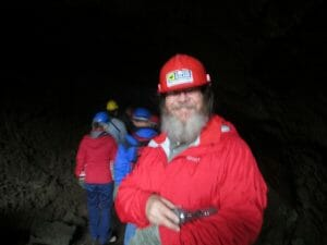John in a lava tube Iceland