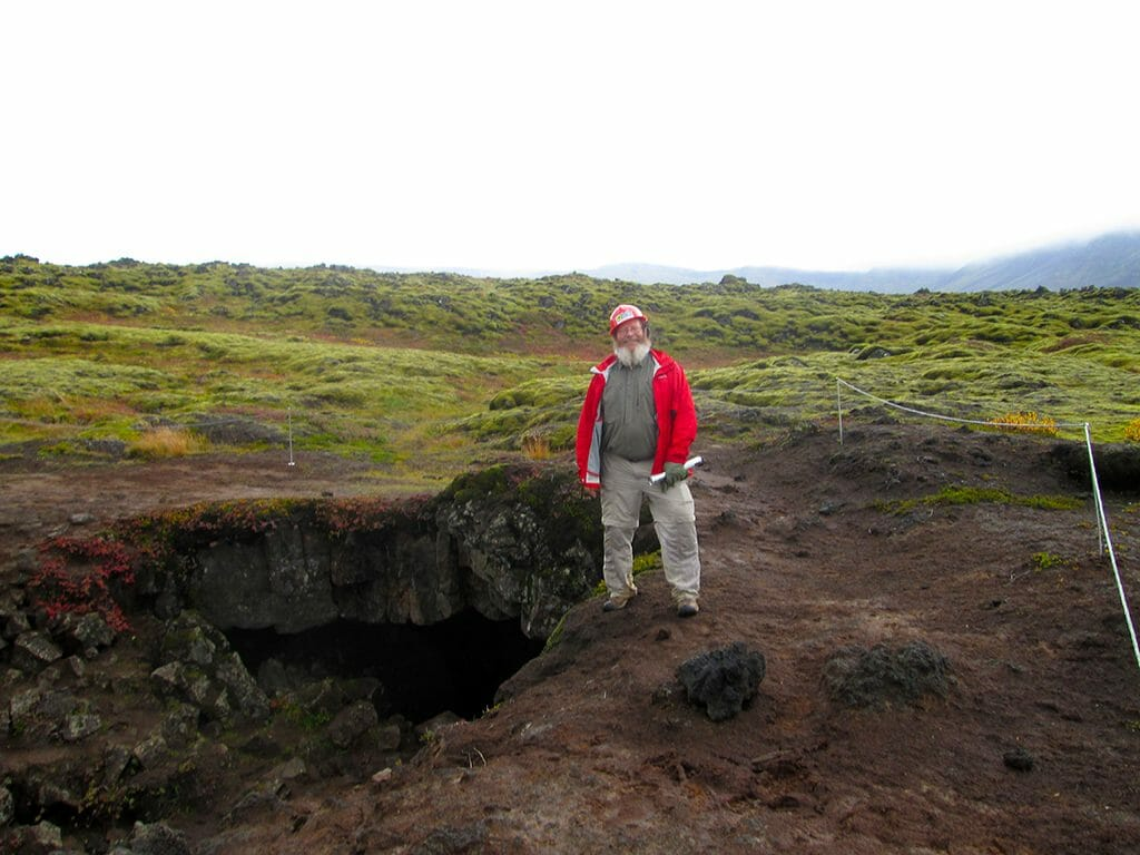 John at Iceland lava tube