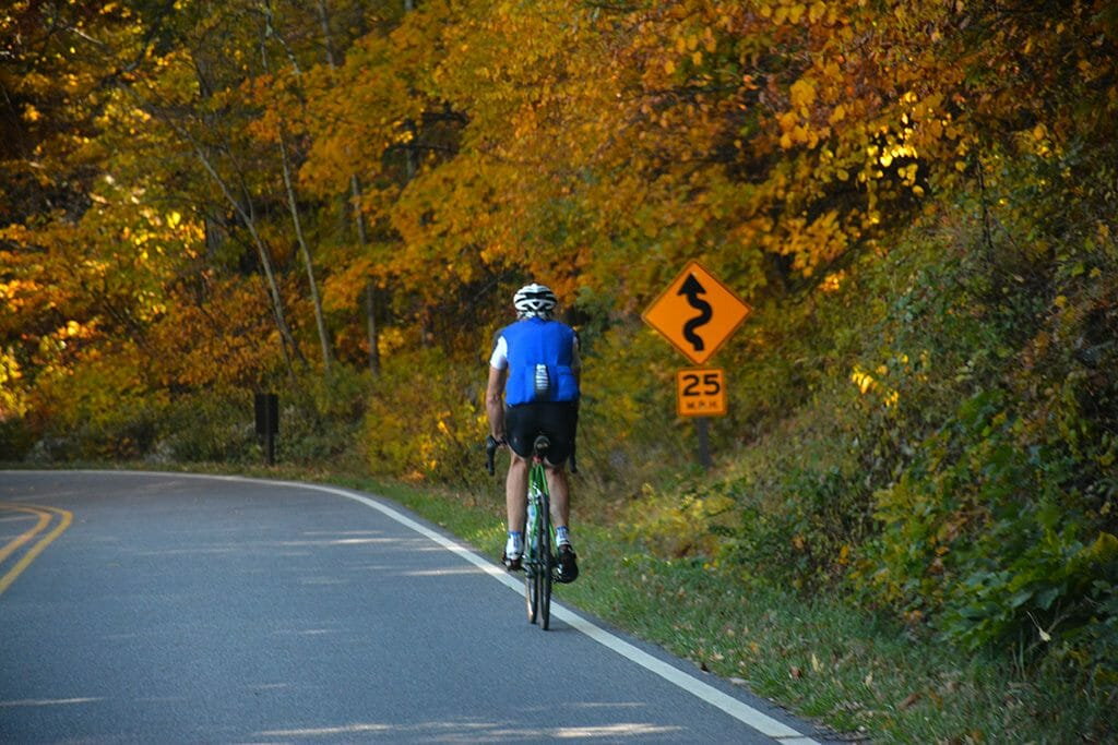 Cyclist on Skyline Drive