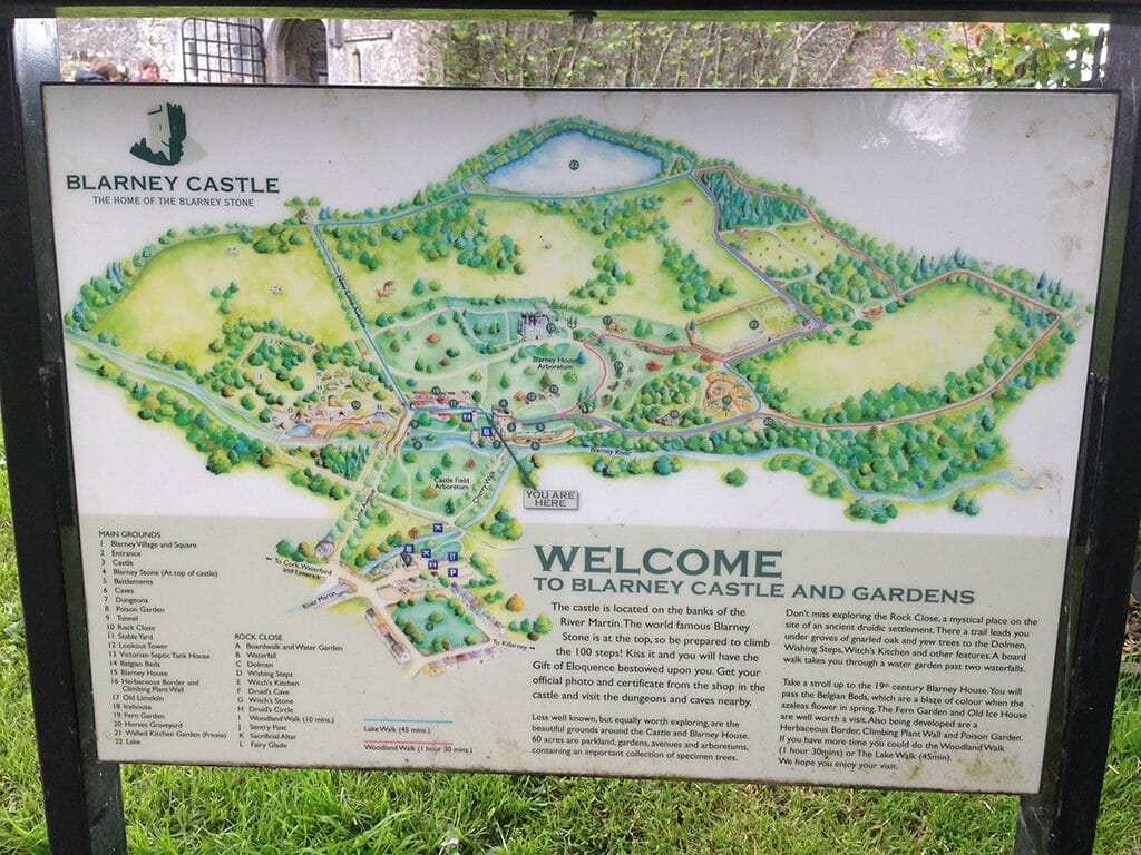 Map of Blarney Castle Gardens