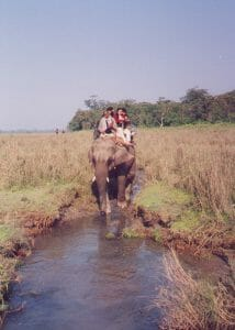 A family on an Indian elephant