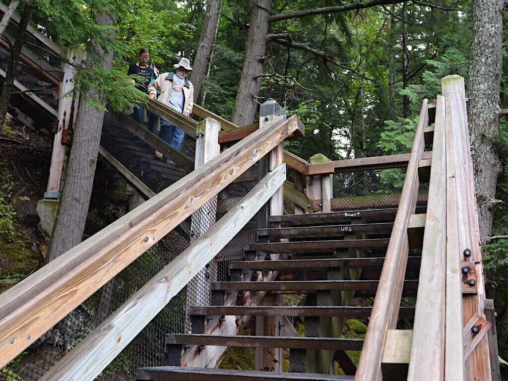 Stair climbing at Upper Taquamenon Falls