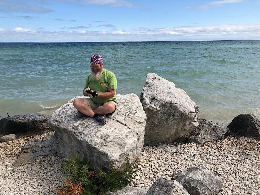 John on a rock