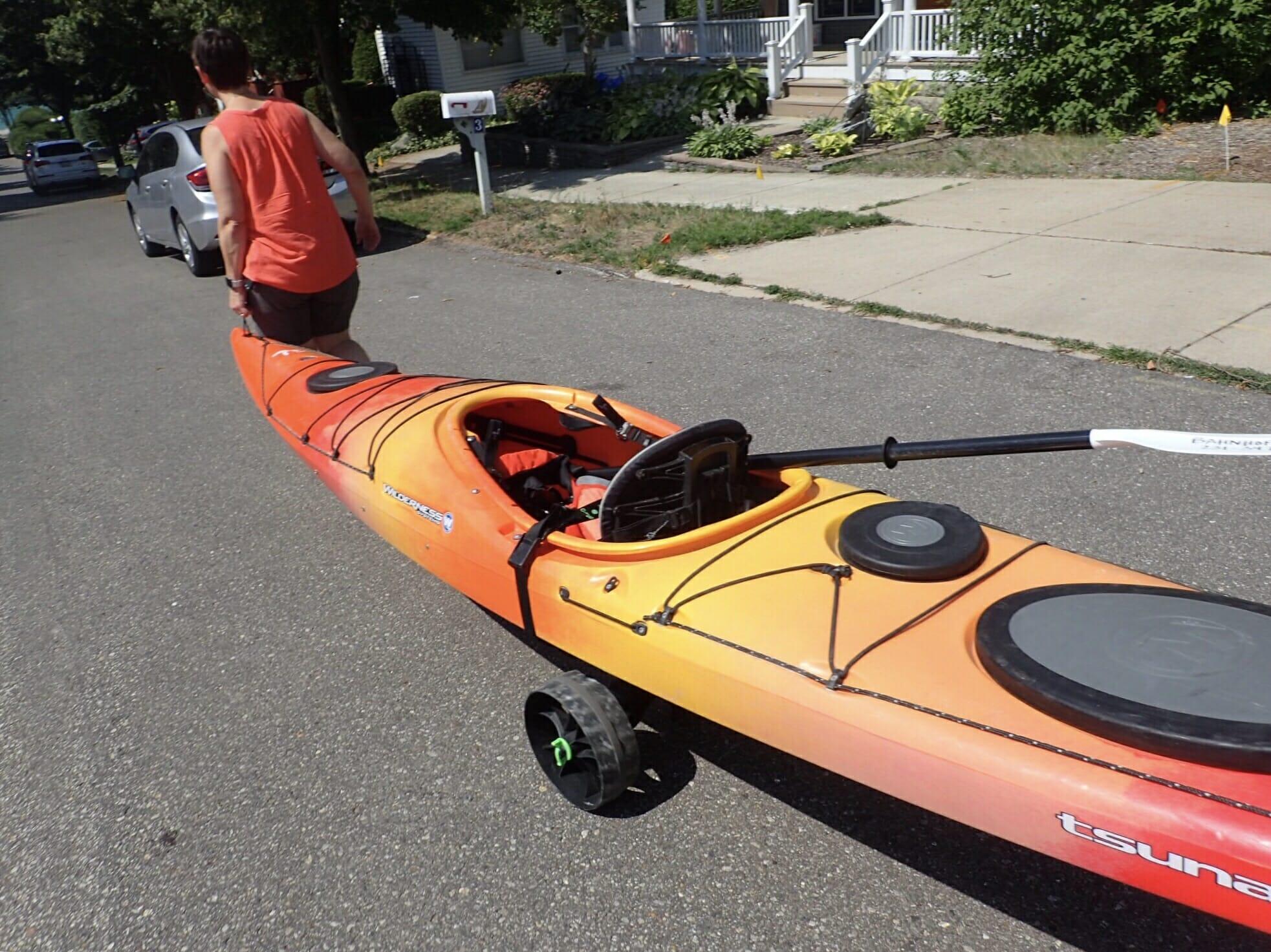 Missy pulling her kayak