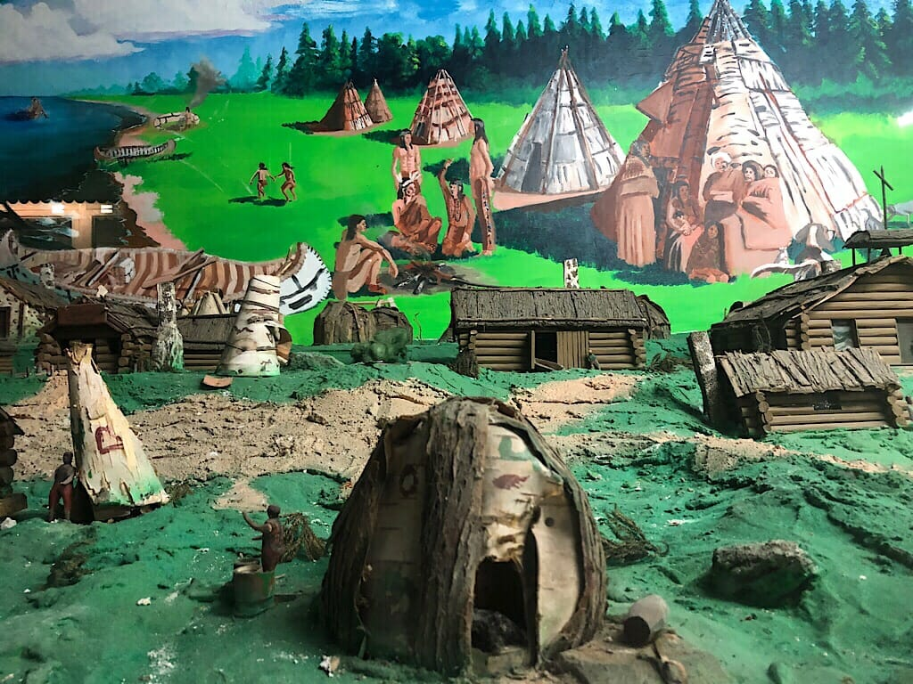 Diorama of Ojibwa village