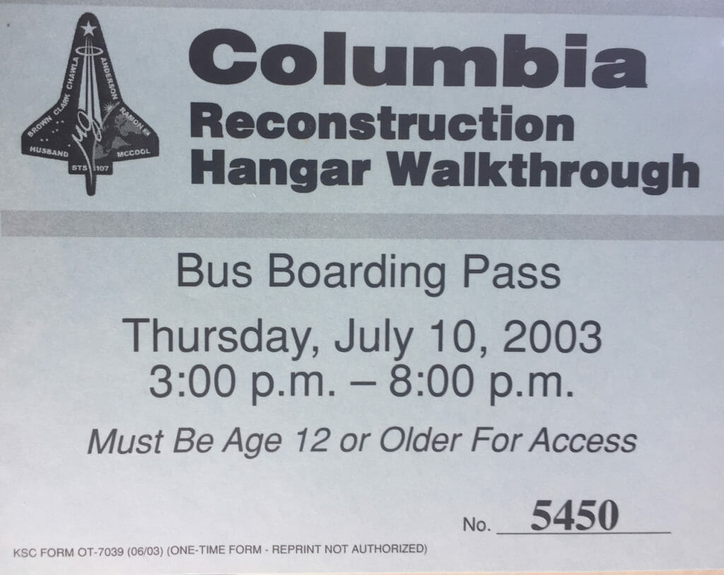 Columbia reconstruction walkthough pass