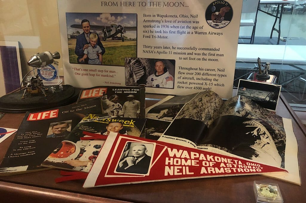 Armstrong Wapakoneta artifacts at Liberty Aviation Museum