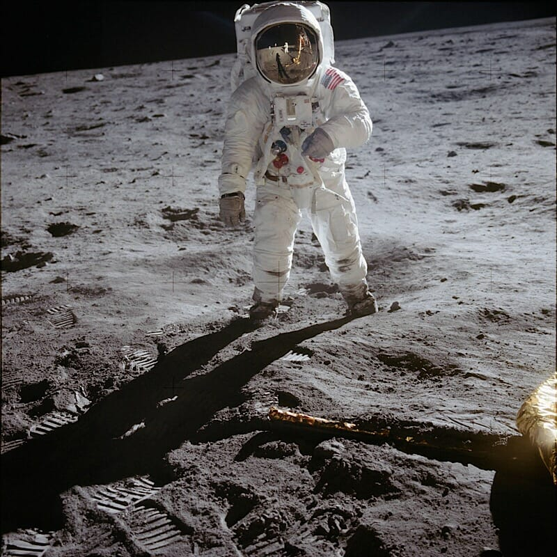 Armstrong and LM reflected in Aldrin helmet NASA