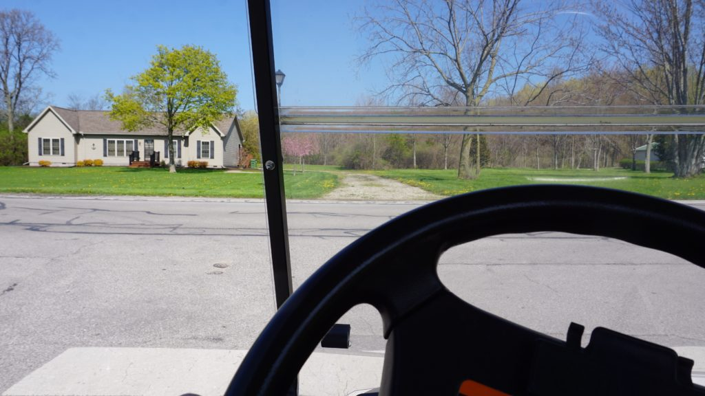 Driving a golf cart at Put-In-Bay