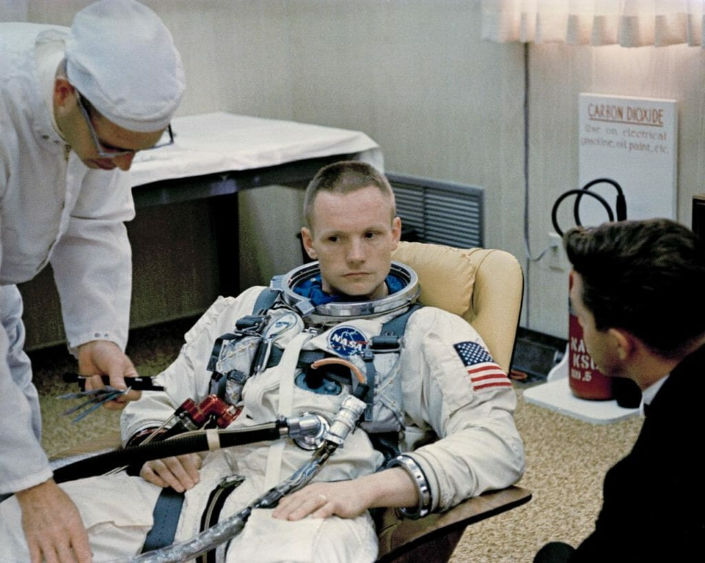 Neil Armstrong preparing for Gemini 8 (NASA)