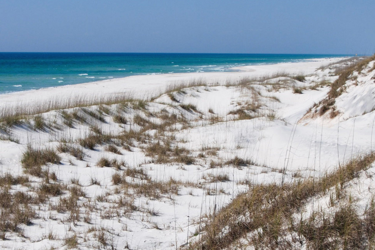 Dunes and emerald waters at Cape San Blas Florida