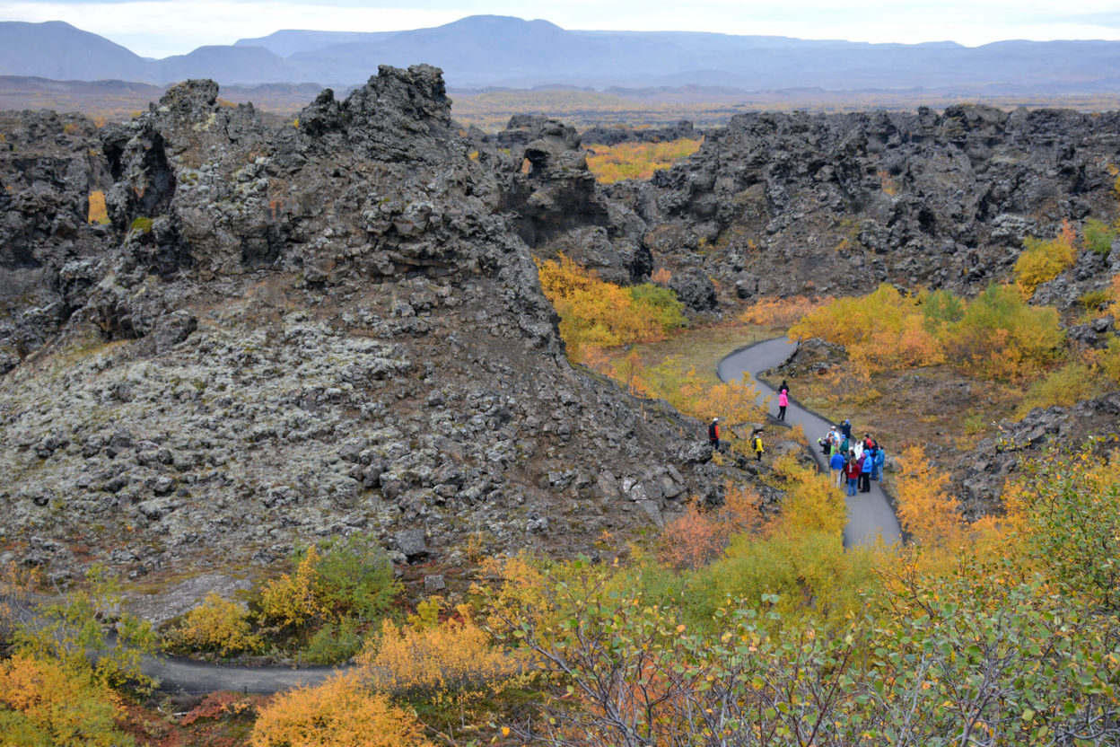 Tour group in Dimmuborgir Iceland