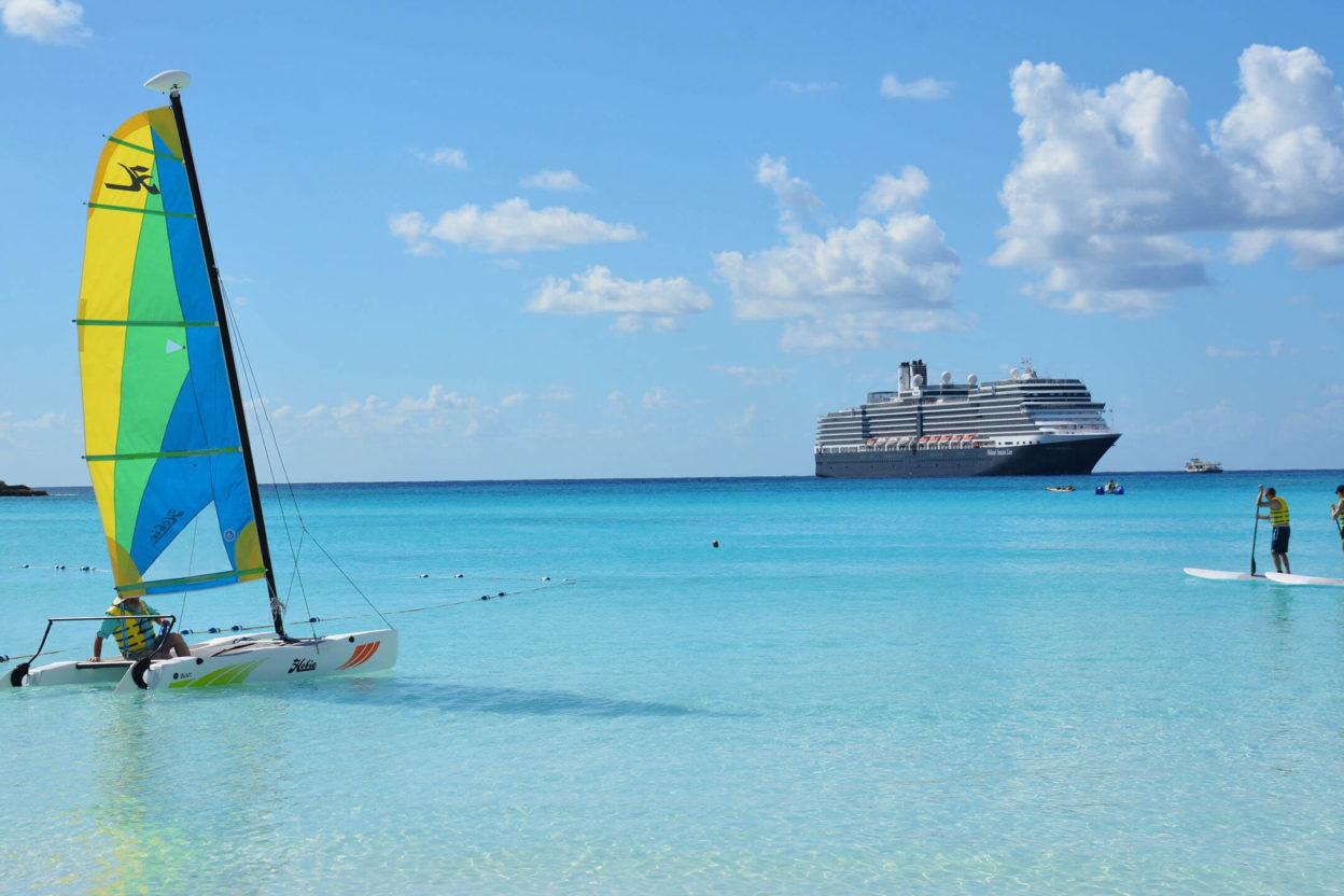 Cruise ship in Caribbean aqua waters