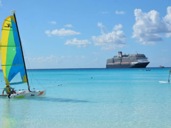 Cruise ship in Caribbean aqua waters