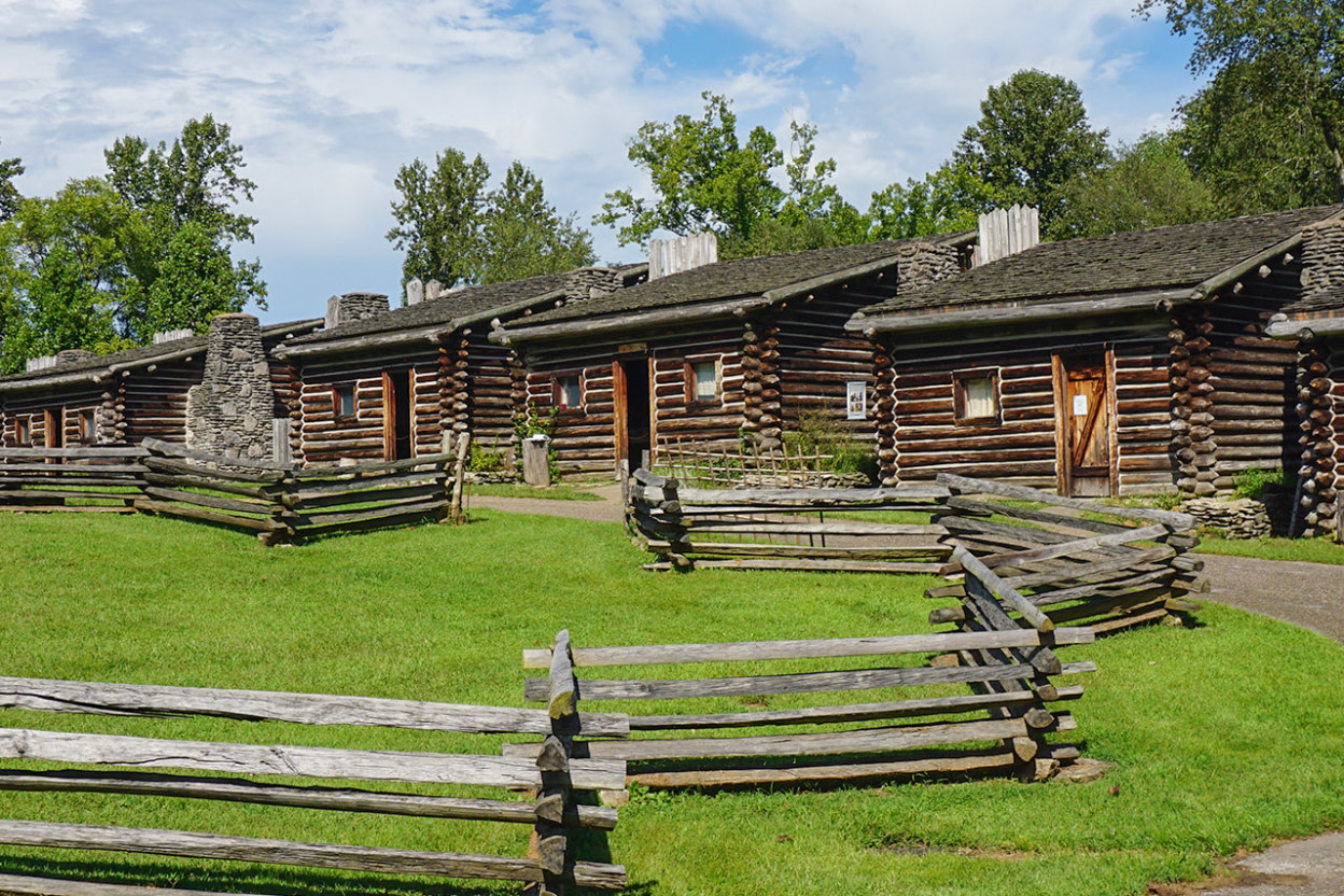 Row of Early American cabins