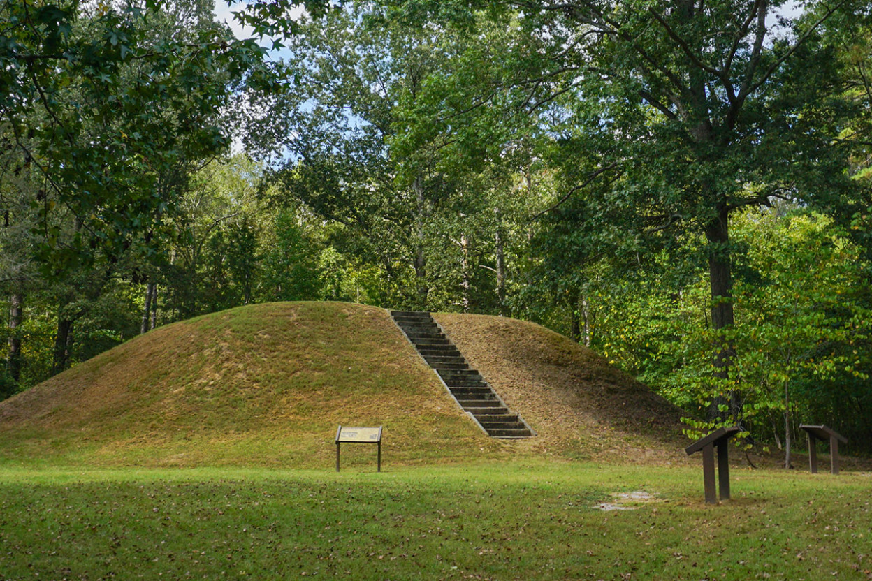 Ceremonial mound with staircase in a forest