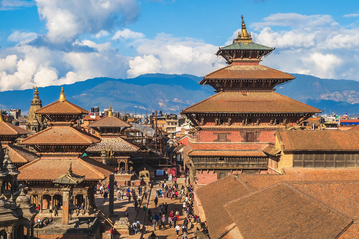 Temple architecture against background of Himalayan Mountains