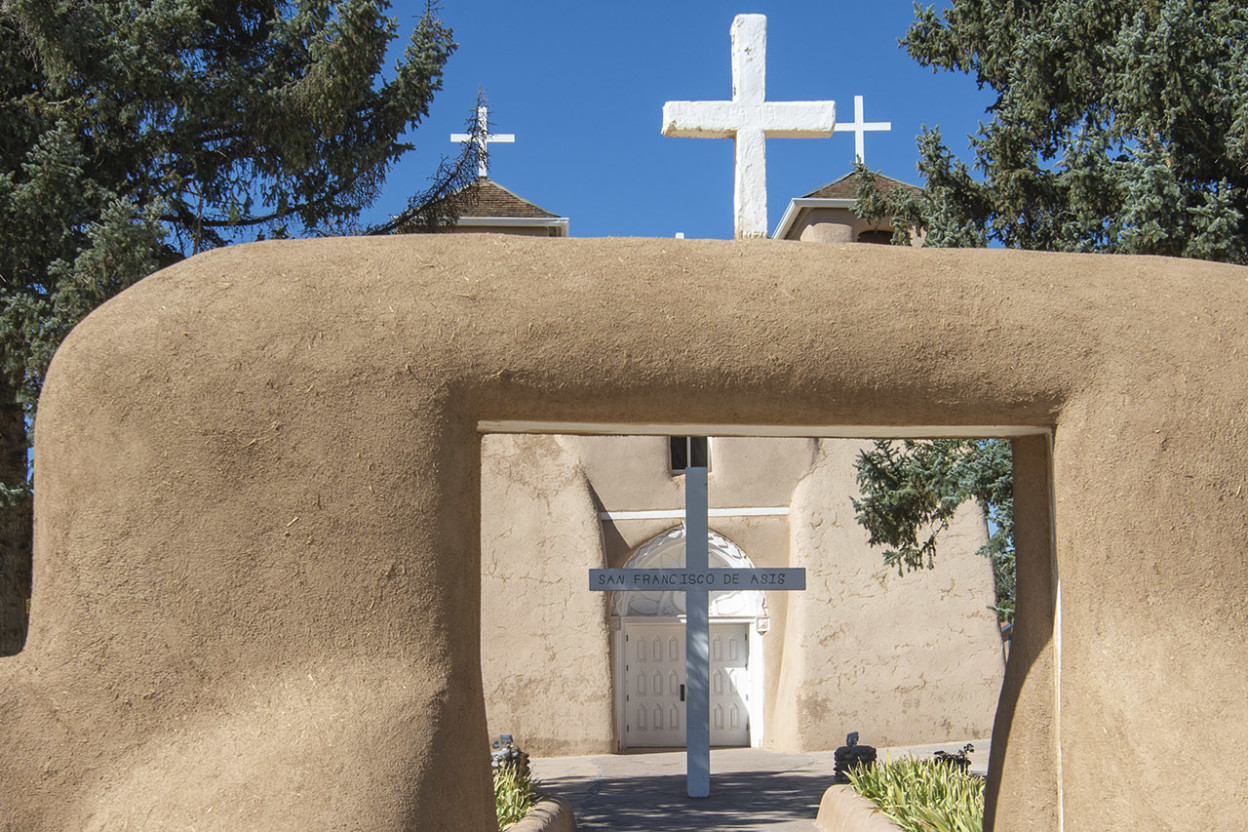 Adobe mission with crosses atop it