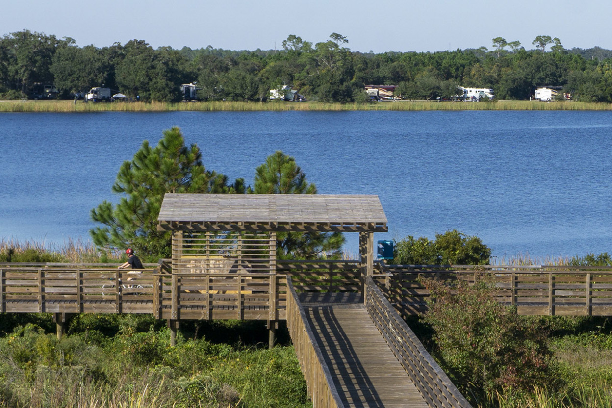 Boardwalk and campground Gulf State Park Alabama