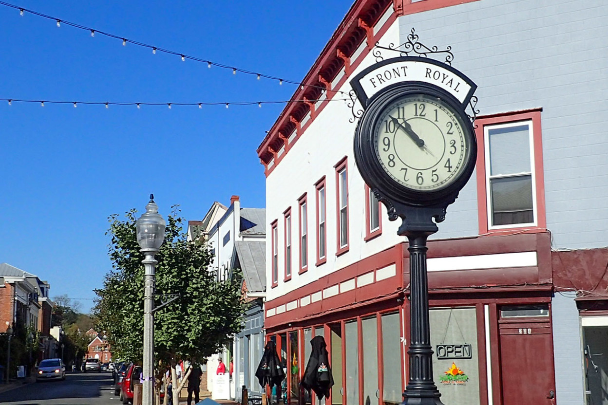 Historic downtown with city clock foreground